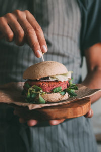Vegan burger made with red beans, quinoa and beetroot